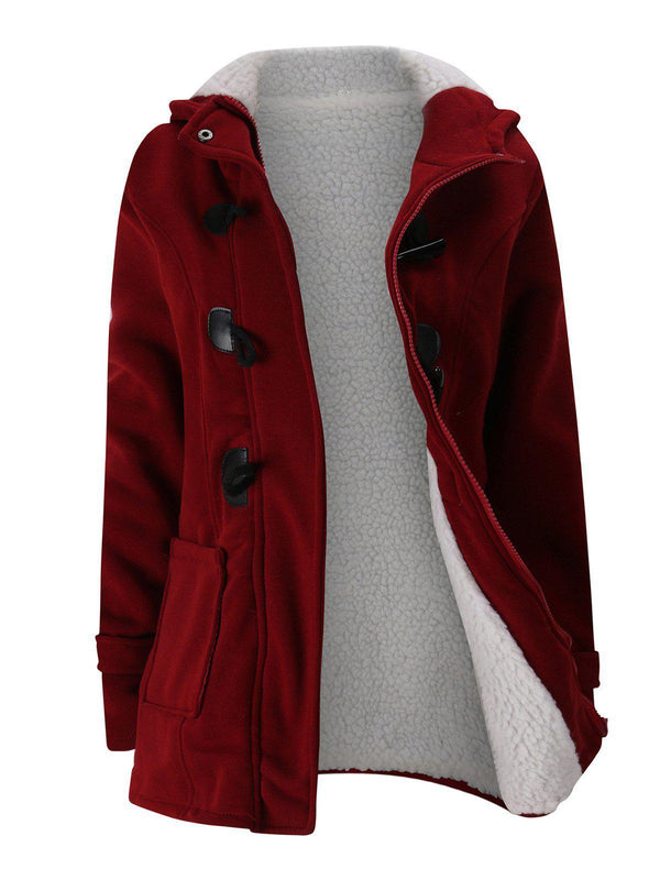 Women Horn Button Coton Fleece Hooded Duffle Coat-outerwear-fastchics-Wine Red-S-fastchics