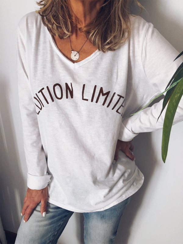 Women Long Sleeve Casual V Neck Tops