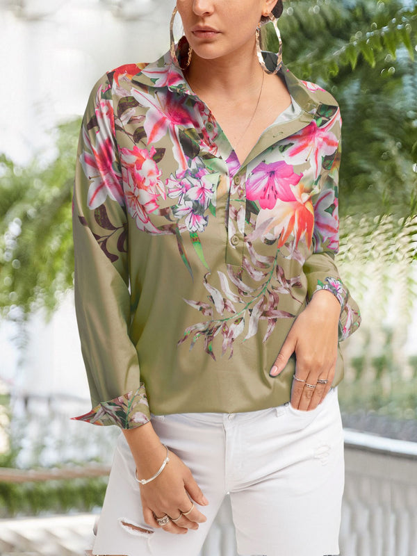 Women Vintage Half Sleeve Floral Casual Holiday Chiffon Shirts