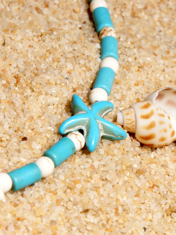 Fashion Anklet Double Starfish Beach Turquoise Cross Pendant Vintage Anklet-Accessories-fastchics-Blue-One-size-fastchics