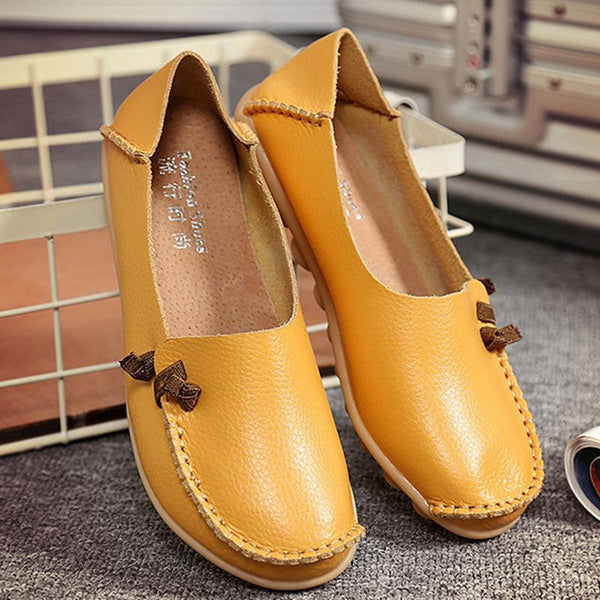Two-in-one Casual Flat Shoes Women's Slip-On Cowhide Loafers
