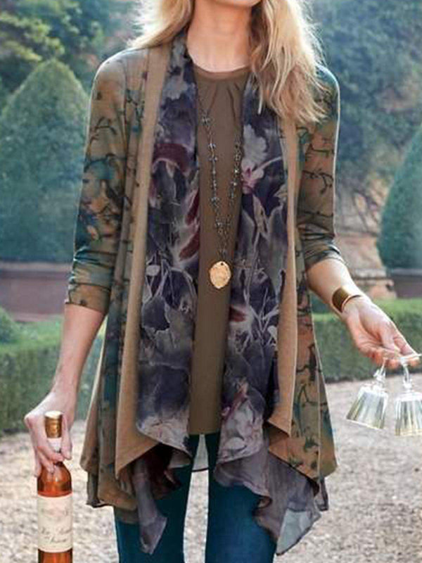 Floral Long Sleeve Outerwear-outerwear-fastchics-Coffee-S-fastchics
