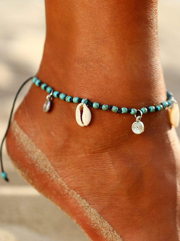Handmade knotted Shell Conch Taffeta Alloy Pendant Anklet-Accessories-fastchics-As Picture-One-size-fastchics