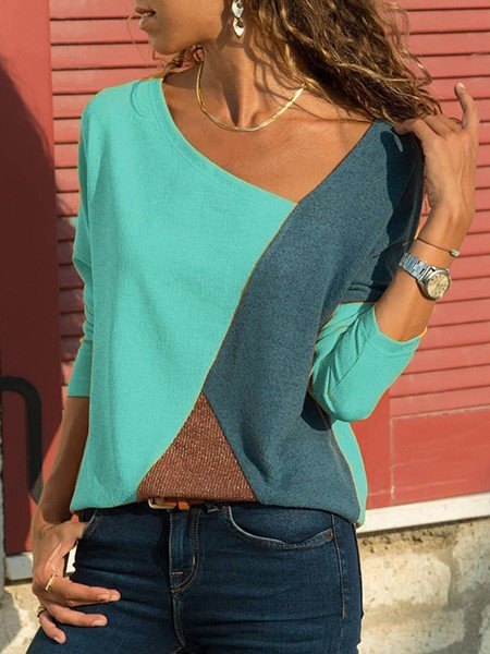 Women Asymmetric Neck Patchwork Casual T-Shirts
