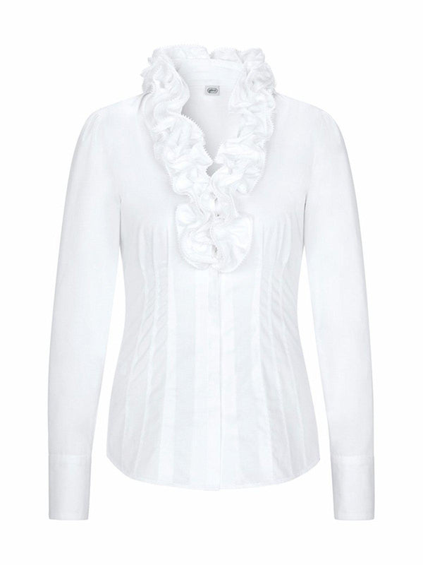 White V Neck Long Sleeve Ruffled Shirts & Tops-outerwear-fastchics-White-S-fastchics