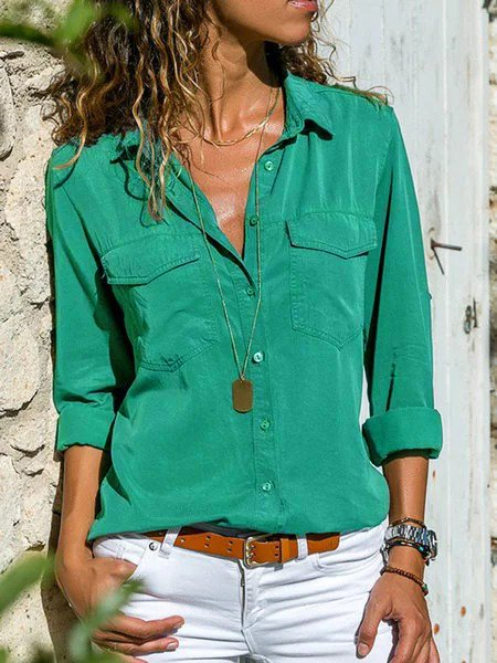 Women Plus Size Casual Buttoned Shirts