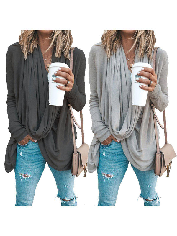 Spring/Fall Cowl Neck Asymmetrical Solid Casual T-Shirts-Tops-fastchics-Black Gray-S-fastchics