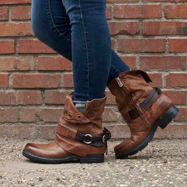Women Vintage Daily Buckle Strap Boots