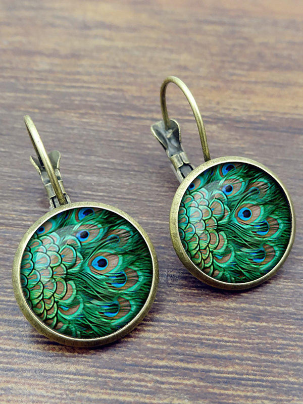 Vintage Peacock Feathers Pattern Bohemian Bronze Time Gem Cabochon Dangle Earrings-Accessories-fastchics-Gold-One-size-fastchics
