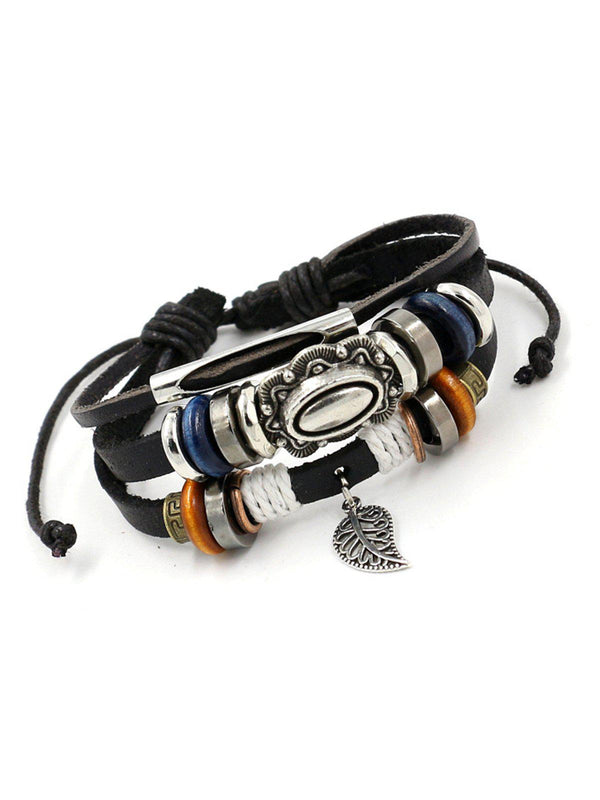 Womens Multi-layers Alloy Artificial Leather Bracelets-Accessories-fastchics-Black-One-size-fastchics