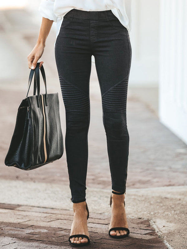 Casual Solid Pants-Bottoms-fastchics-Black-S-fastchics