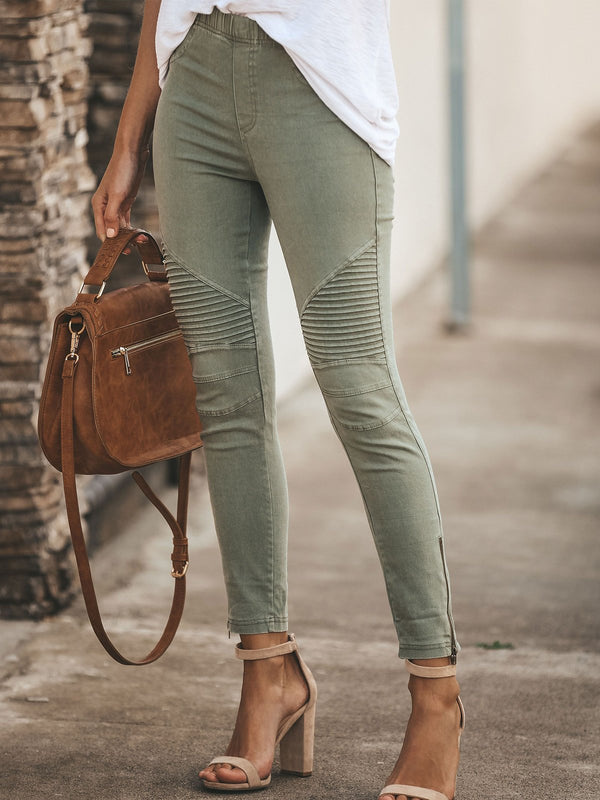 Casual Solid Pants-Bottoms-fastchics-Army Green-S-fastchics