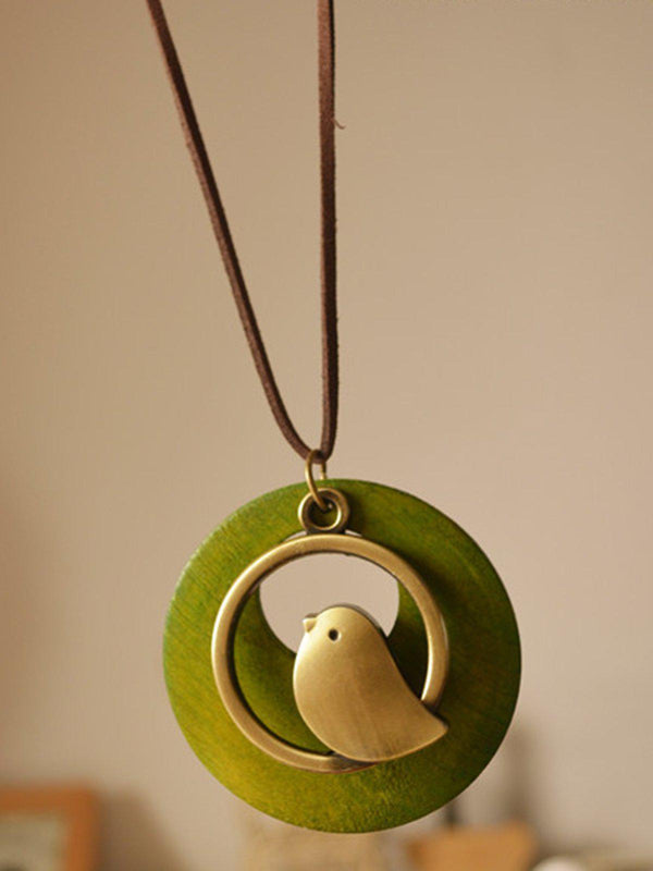 Handmade Bird Sweater Vintage Necklace-Accessories-fastchics-Green-One-size-fastchics