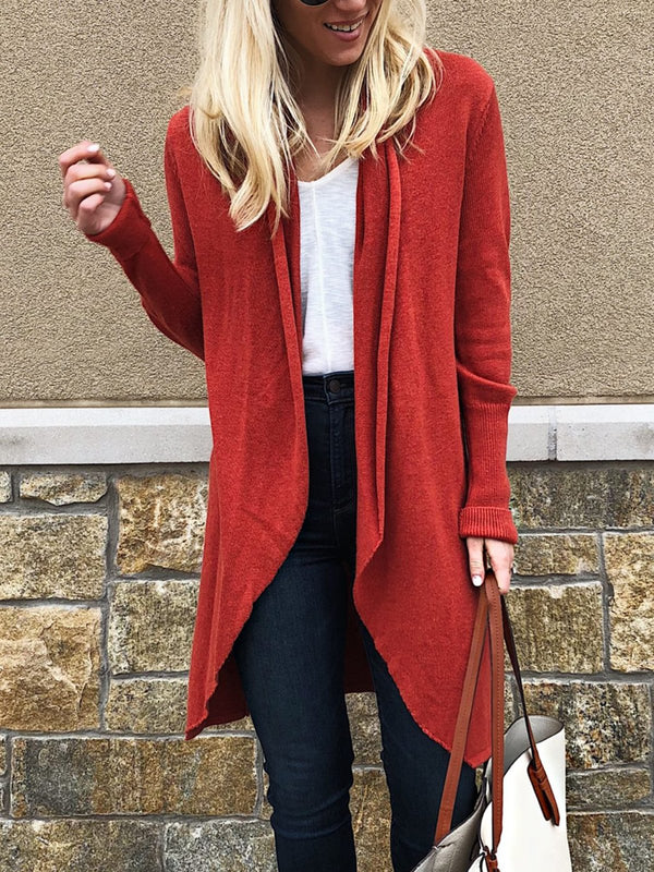 Long Sleeve Cotton-Blend Outerwear-outerwear-fastchics-Red-S-fastchics