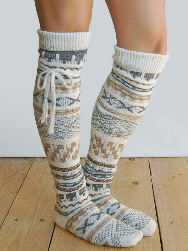 Knitted Boho Geometric Underwear & Socks-Accessories-fastchics-White-One-size-fastchics