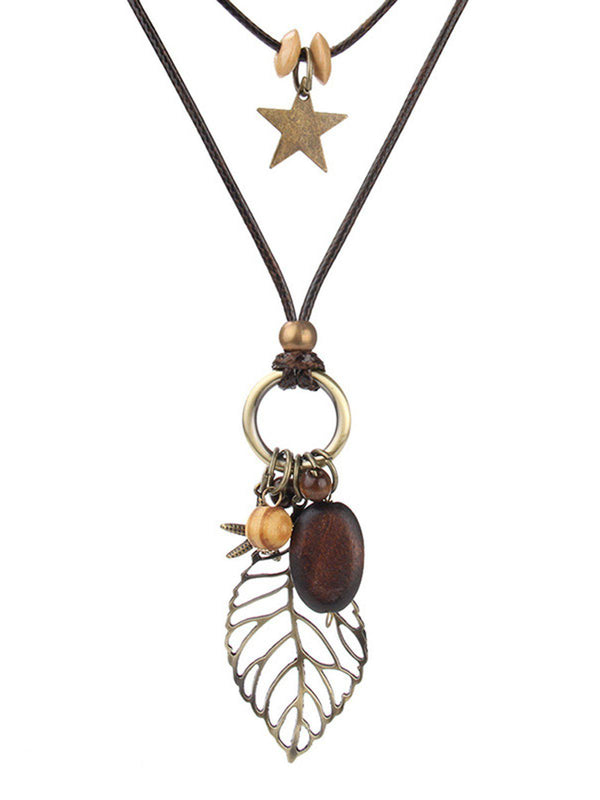 Brown Vintage Leaf Sweater Necklace-Accessories-fastchics-Brown-One-size-fastchics