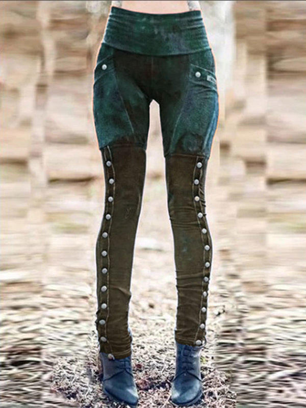 Cotton-Blend Paneled Vintage Pants-Bottoms-fastchics-Army Green-S-fastchics