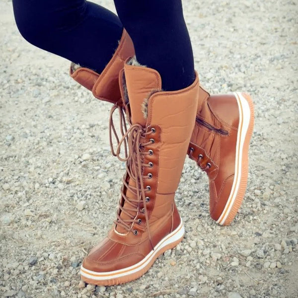 Women Winter Comfy Lace Up Mid-Calf Boots-Shoes-fastchics-Brown-35-fastchics