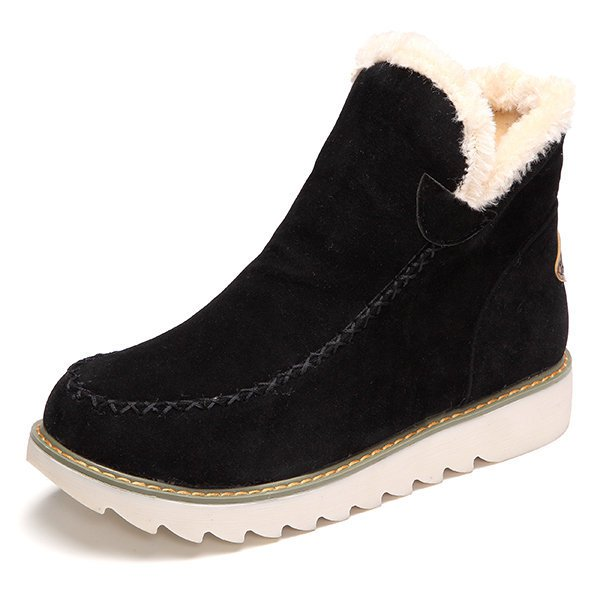 Big Size Pure Color Warm Fur Lining Winter Ankle Snow Boots For Women-Shoes-fastchics-Black-36-fastchics