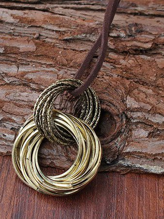 Alloy Double Rings Necklaces-Accessories-fastchics-Brown-One-size-fastchics