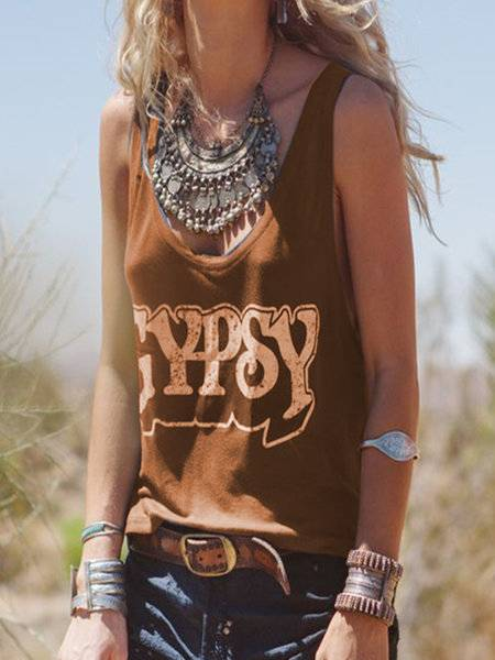 Sleeveless Statement Shirts & Tops-Tops-fastchics-Brown-XS-fastchics