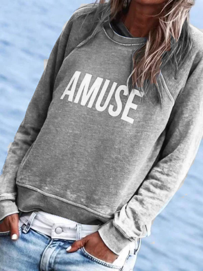 Women Cotton Casual Long Sleeve Letter Tops