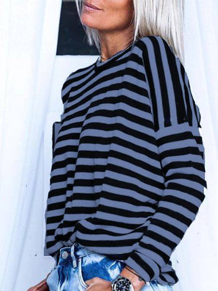 Plus Size Stripes Long Sleeve Tops