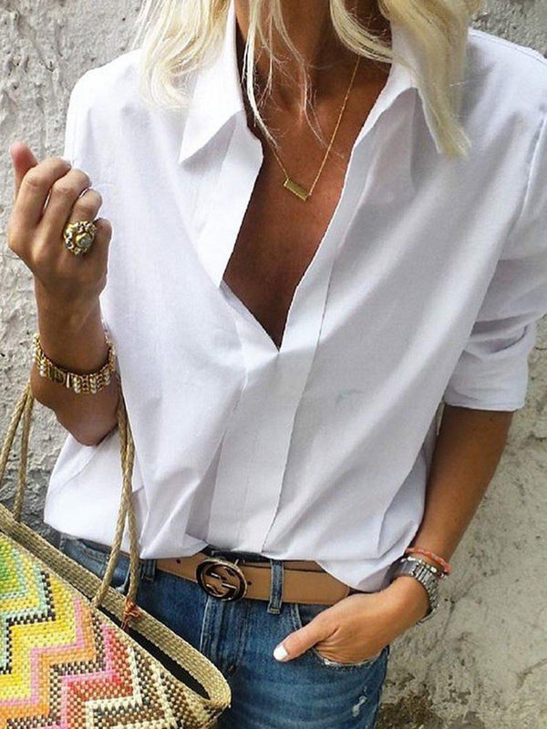 Long Sleeves Shirt Collar Solid Casual Shirts-Tops-fastchics-White-S-fastchics