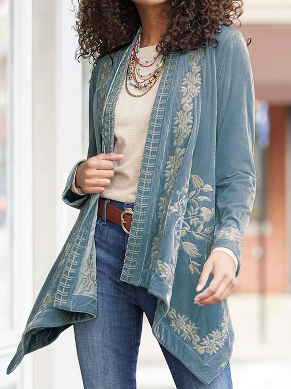 Plus Size Long Sleeve Embroidered Boho Round Neck Vintage Cardigan