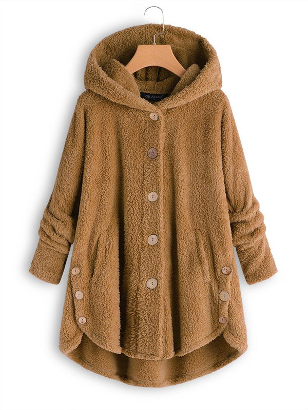 Cozy Long Sleeve Fleece Hooded Fuzzy Asymmetrical Hem Button Teddy Bear Coat-outerwear-fastchics-Yellow-S-fastchics
