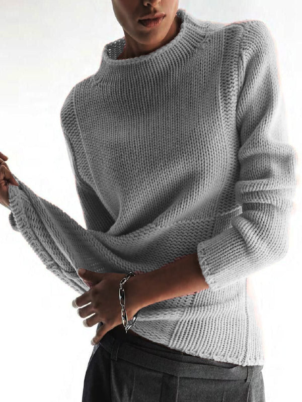 Elegant Long Sleeve Paneled Sweater