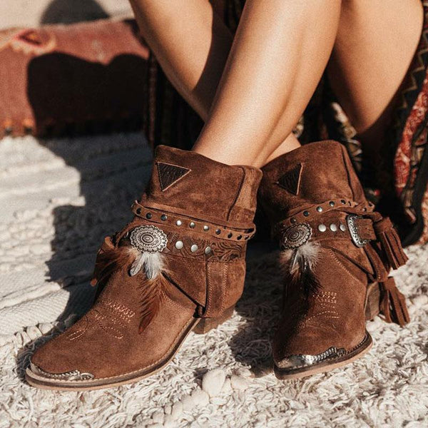Brown Tassel Spring/fall Chunky Heel Faux Suede Boots-Shoes-fastchics-Brown-35-fastchics