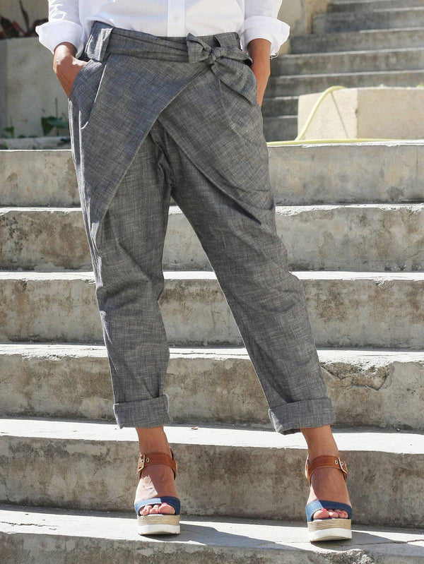 Plus Size Bow Bandage Back Elastic Casual Pants-Bottoms-fastchics-Light Gray-S-fastchics