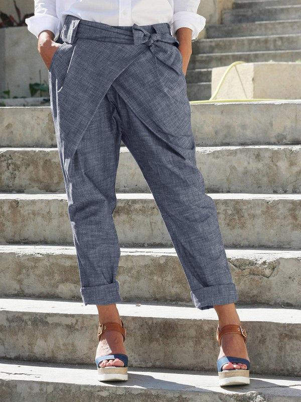 Plus Size Bow Bandage Back Elastic Casual Pants-Bottoms-fastchics-Blue Gray-S-fastchics