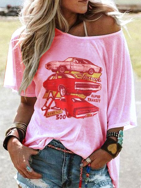 Crew Neck Short Sleeve Cartoon Car Print Casual Top-Tops-fastchics-Pink-US 4 (label size S)-fastchics