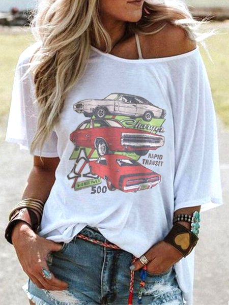 Crew Neck Short Sleeve Cartoon Car Print Casual Top-Tops-fastchics-White-US 4 (label size S)-fastchics