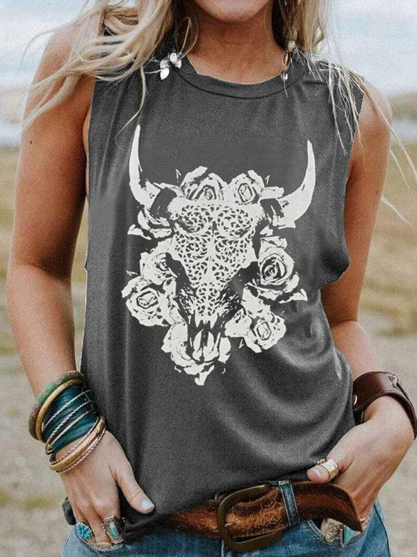 Round Neck Sleeveless Oxhead Print Casual Top-Tops-fastchics-Gray-US 4 (label size S)-fastchics