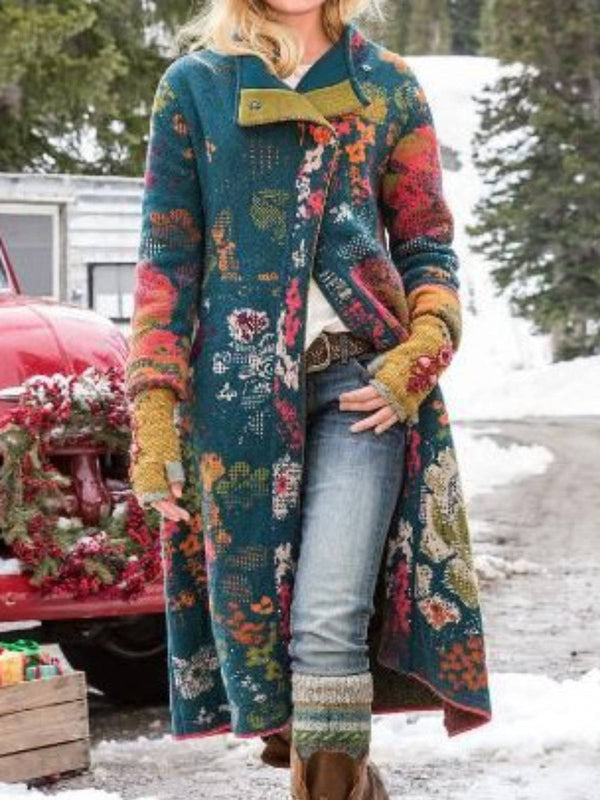 Plus Size Floral Casual Cotton-Blend Outerwear-outerwear-fastchics-Dark Green-S-fastchics