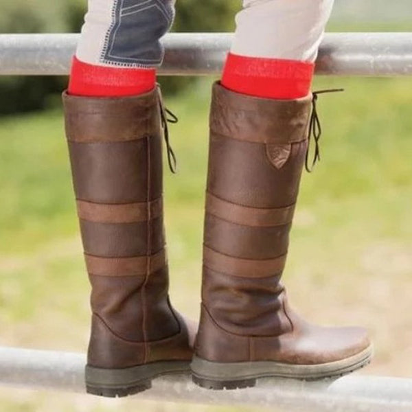 Women's outdoor casual waterproof riding boots-Shoes-fastchics-Brown-35-fastchics