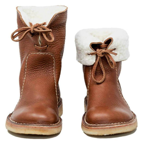 Women Winter Comfy Soft Leather Round Toe Boots