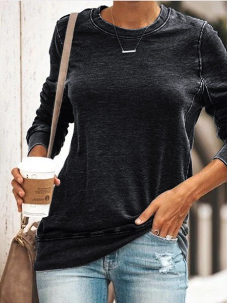 Plus Size Round Neck Long Sleeve Casual Cotton-Blend Tops-Tops-fastchics-Black-S-fastchics