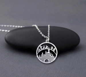 Characters Walking Cartoon Castle Sterling Silver Necklace