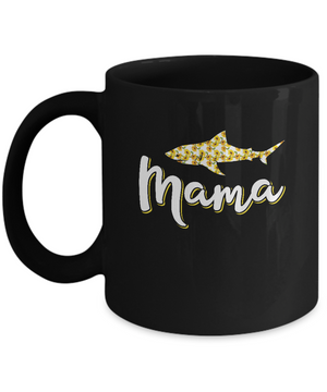 Sunflower Mama Shark Flowers Mothers Day Gift Mug