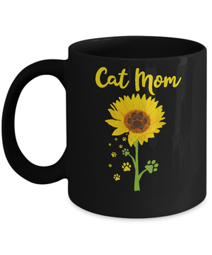 Funny Sunflower Cat Mom Paw Lover Mothers Day Mug