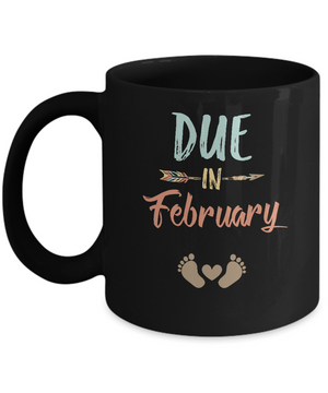 Due Date February 2019 Announcement Mommy Bump Pregnancy Mug