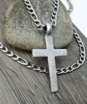 Men's Cross Necklace, Christian Jewelry - Rustic Cross Pendant with Bulky Stainless Steel Chain