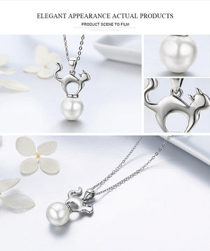 Authentic 925 Sterling Silver Cute Cat collar Necklaces