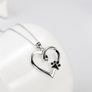 Cute Puppy Palm Paw Mark Print Heart Necklace