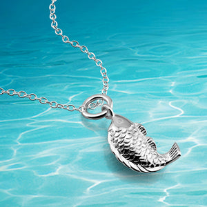 Charm Solid 925 Sterling Silver women fish O Chain Necklace goldfish
