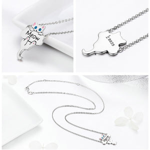 High Quality 925 Sterling Silver Cute Cat Meow Necklace